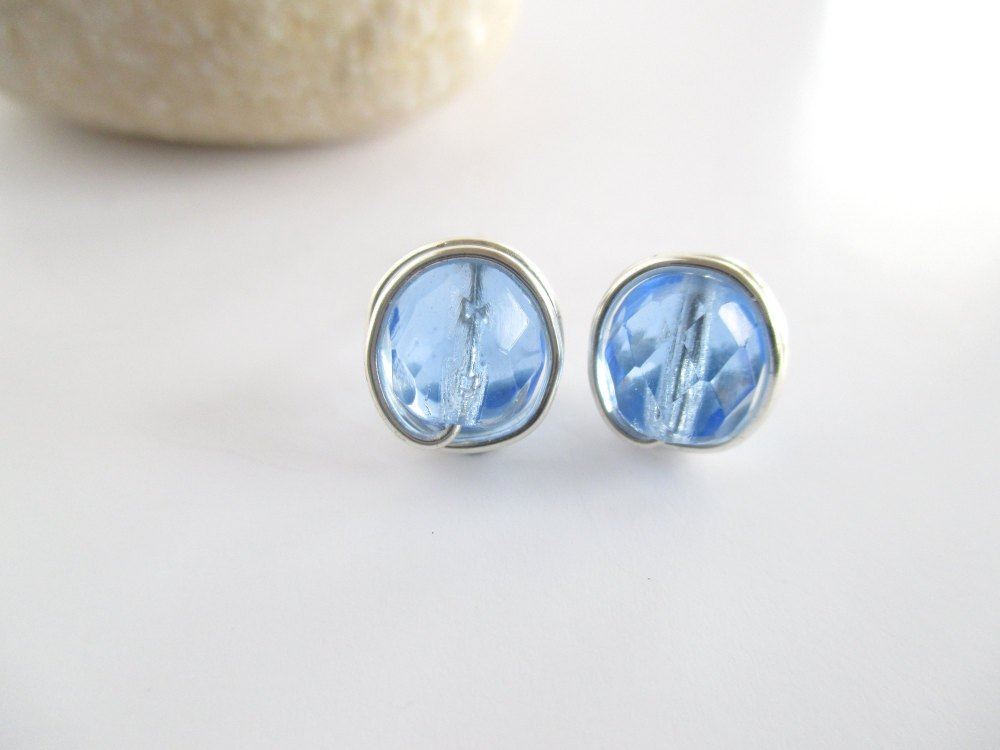 Sapphire Blue Wire Wrapped Earrings