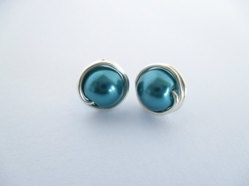 Teal Blue Pearl Earrings