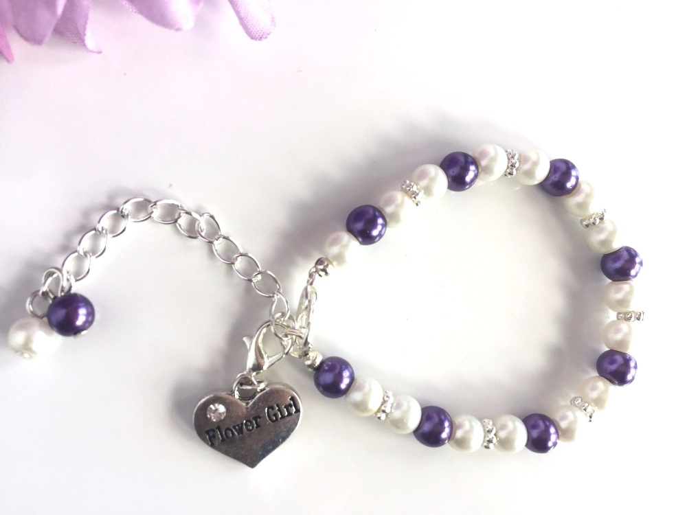 Ivory and Purple Flower Girl Bracelet