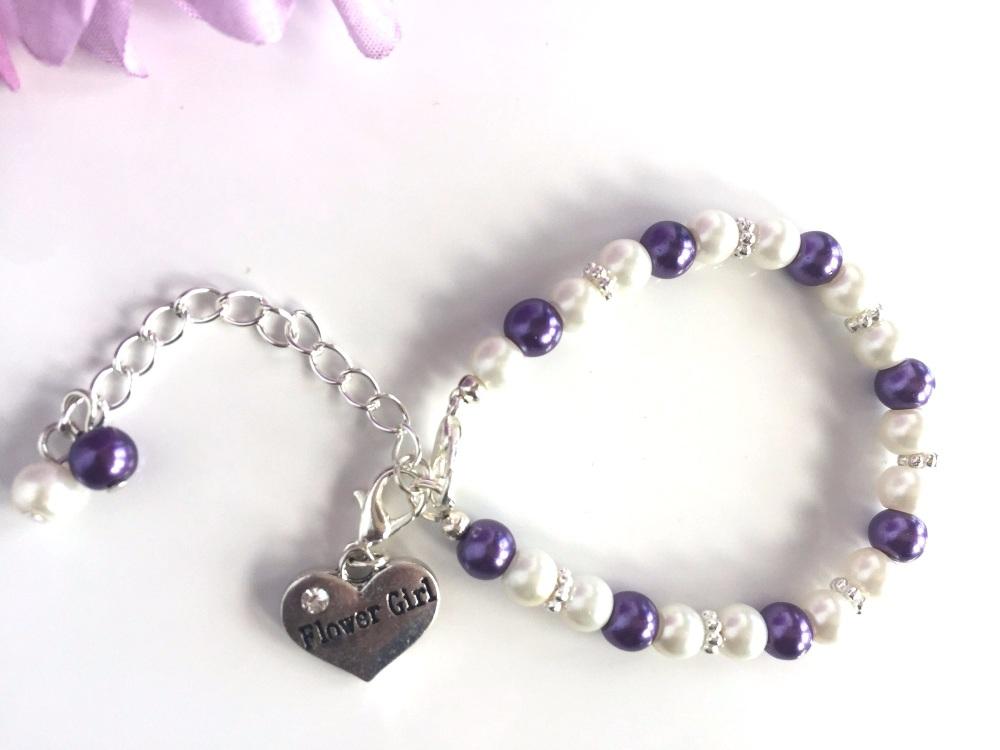 Ivory and Purple Flower Girl Bracelet