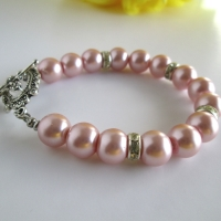 Pink Pearl Bridal Bracelet