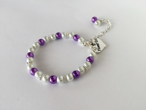 Purple Flower Girl Bracelet
