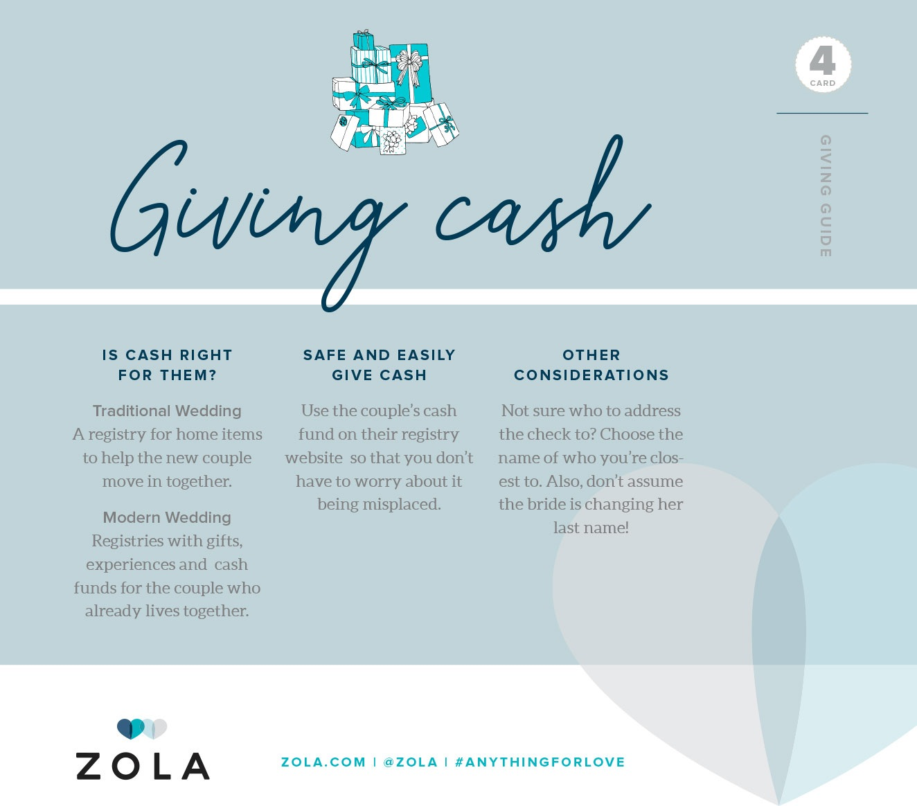 Zola Card 4 - Giving Cash