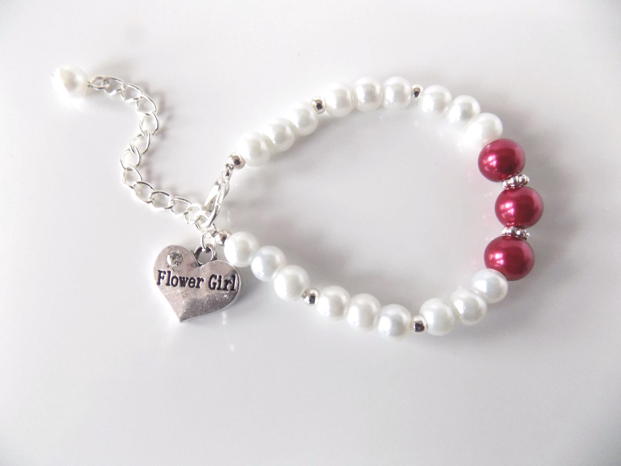 Cerise Pink Flower Girl Bracelet