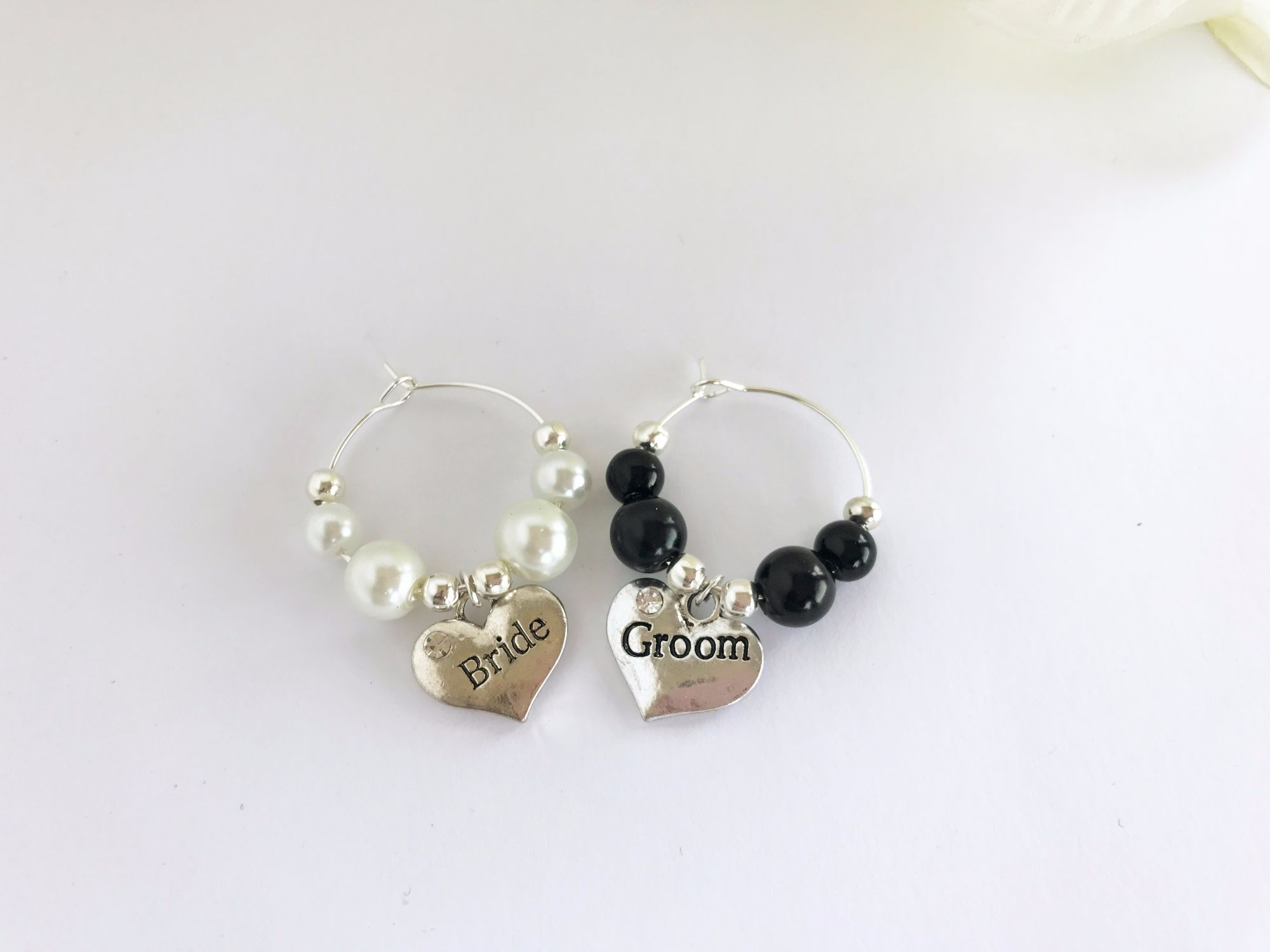 Bride and Groom Wedding Wine Charms