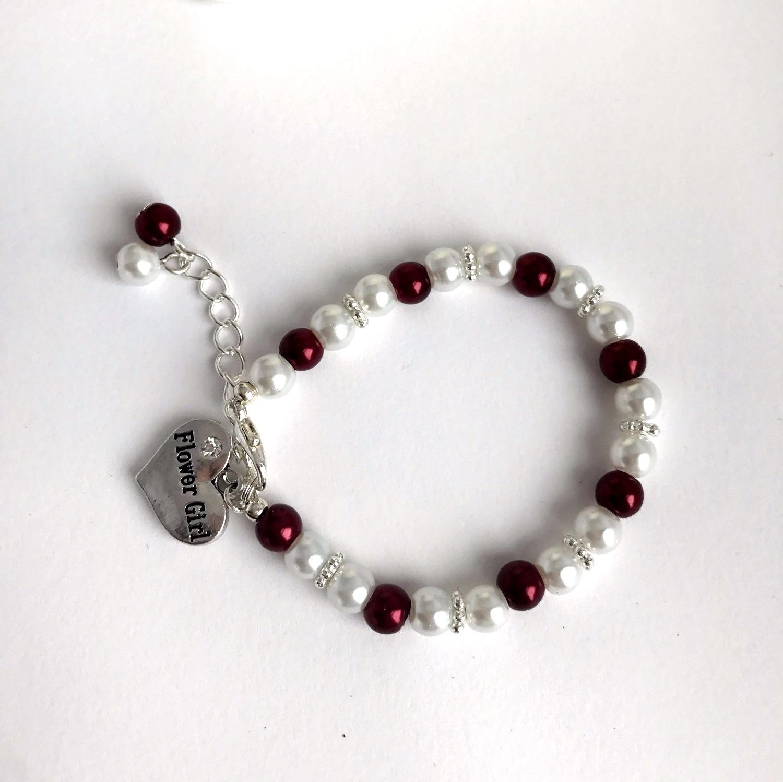 burgundy flower girl bracelet