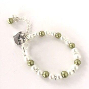 Green Flower Girl Bracelet