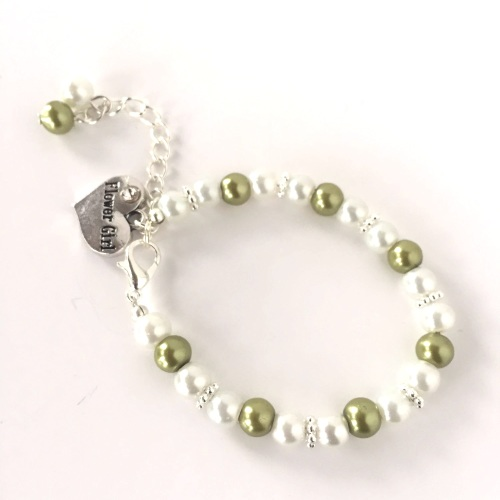Green Flower Girl Bracelet