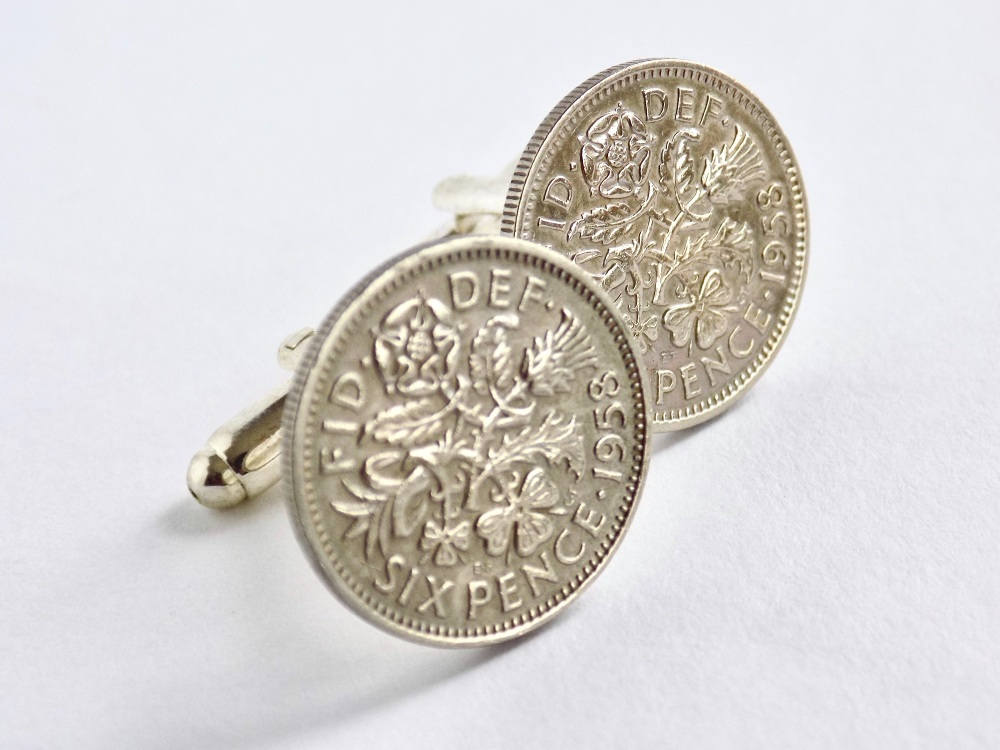 1958 sixpence coin cufflinks