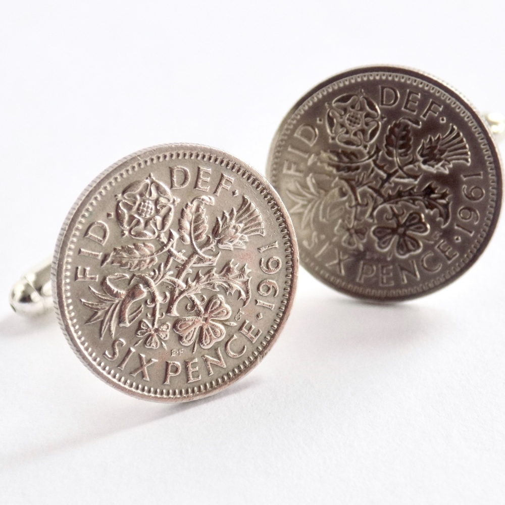 1961 sixpence cufflinks