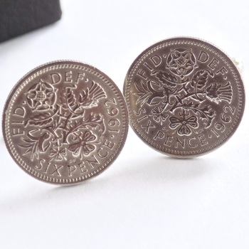 1962 Sixpence Coin Cufflinks