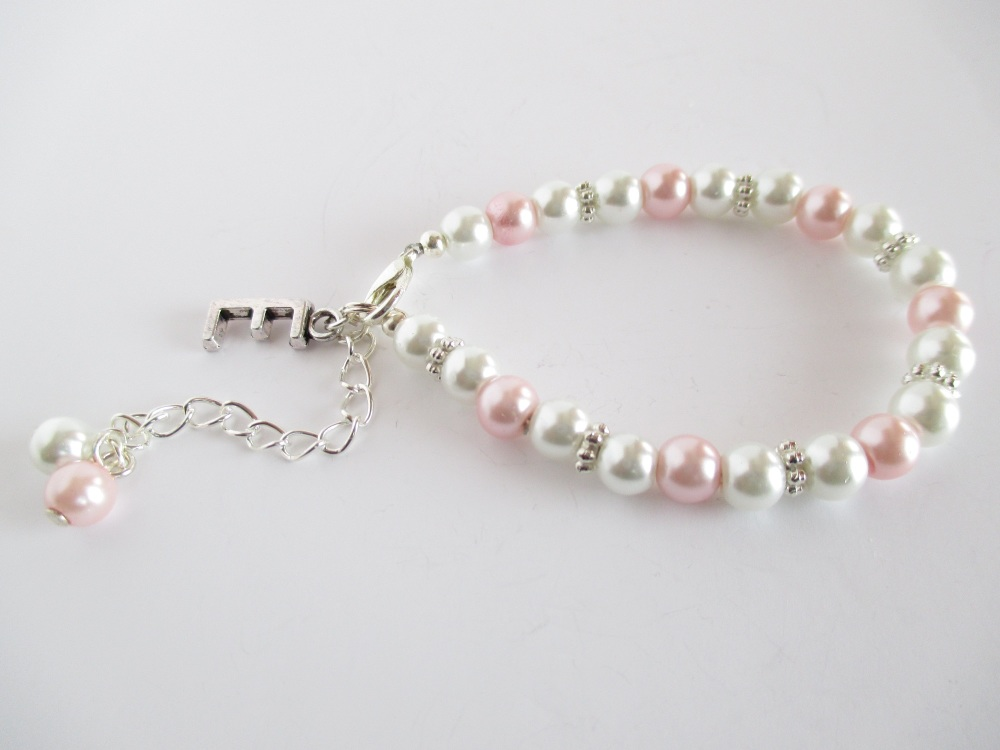 Pink Personalised Flower Girl Bracelet