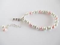 Pink Personalised Flower Girl Bracelet