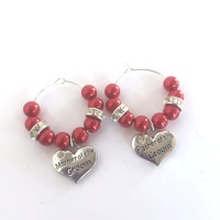 Mother and Father of the Groom Wine Glass Charms Set
