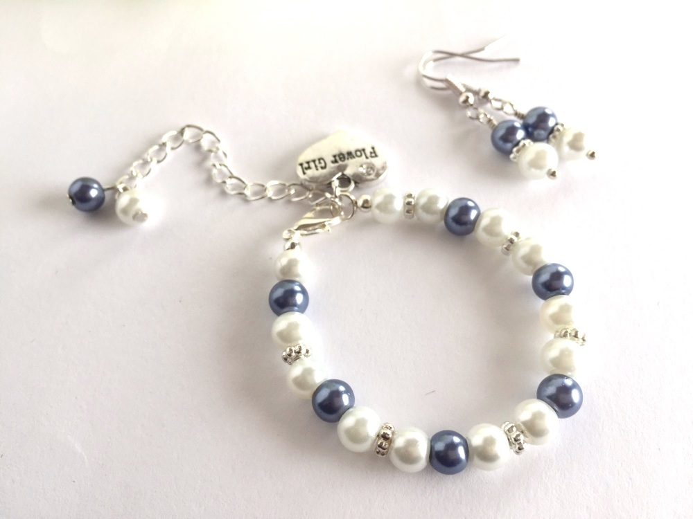 Blue Flower Girl Jewellery Set