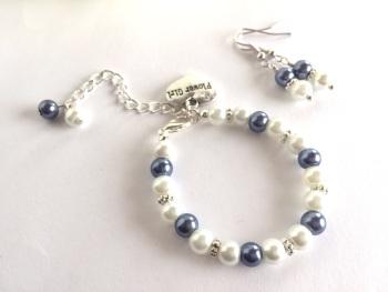 Blue Flower Girl Jewellery Set