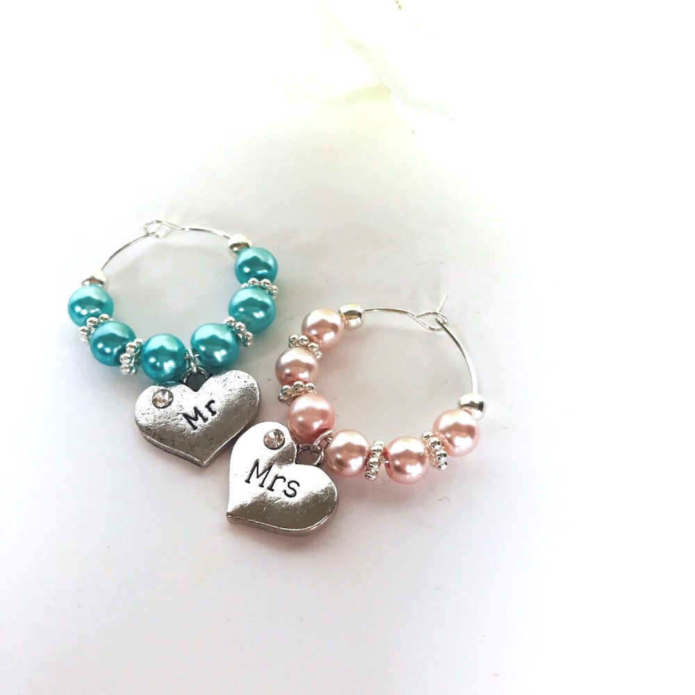 Set of Pink and Blue Wedding Wine Charms