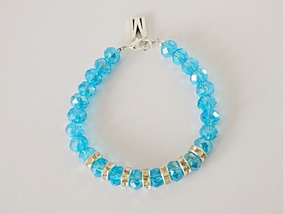 Blue Crystal Bracelet - facing foward