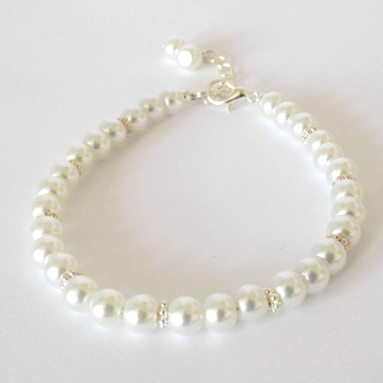 white flower girl bracelet