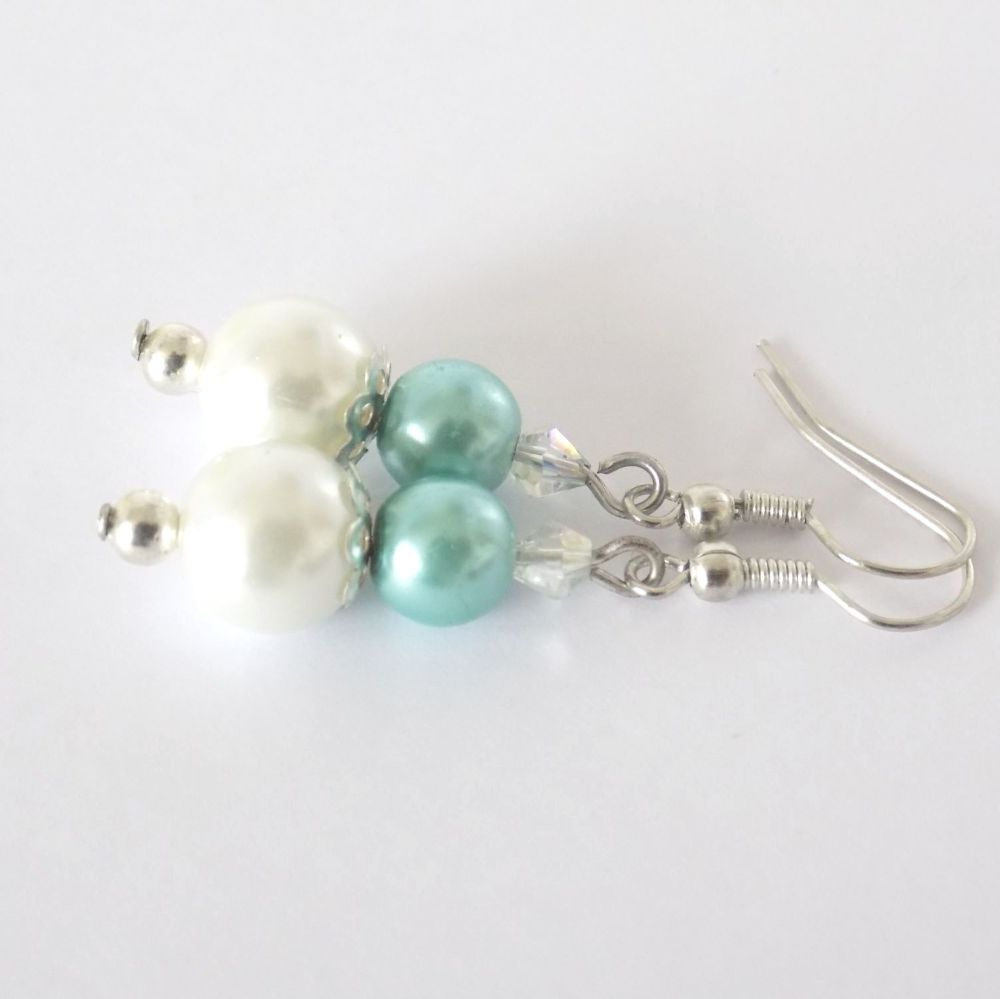 Green Pearl Bridesmaid Earrings