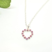 Pink Swarovski Heart Necklace