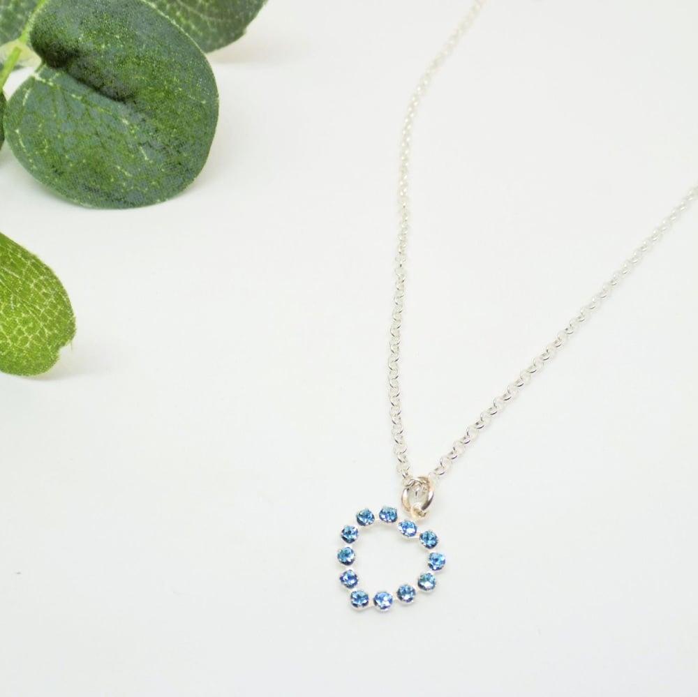 Blue Swarovski Open Heart Necklace