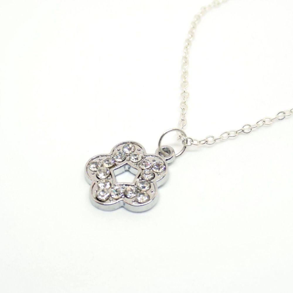 flower crystal necklace