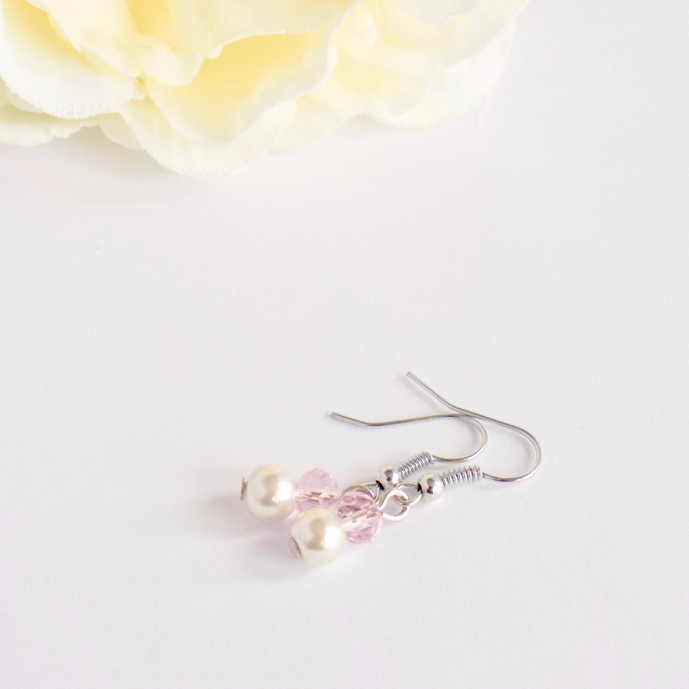 Pink Flower Girl Earrings