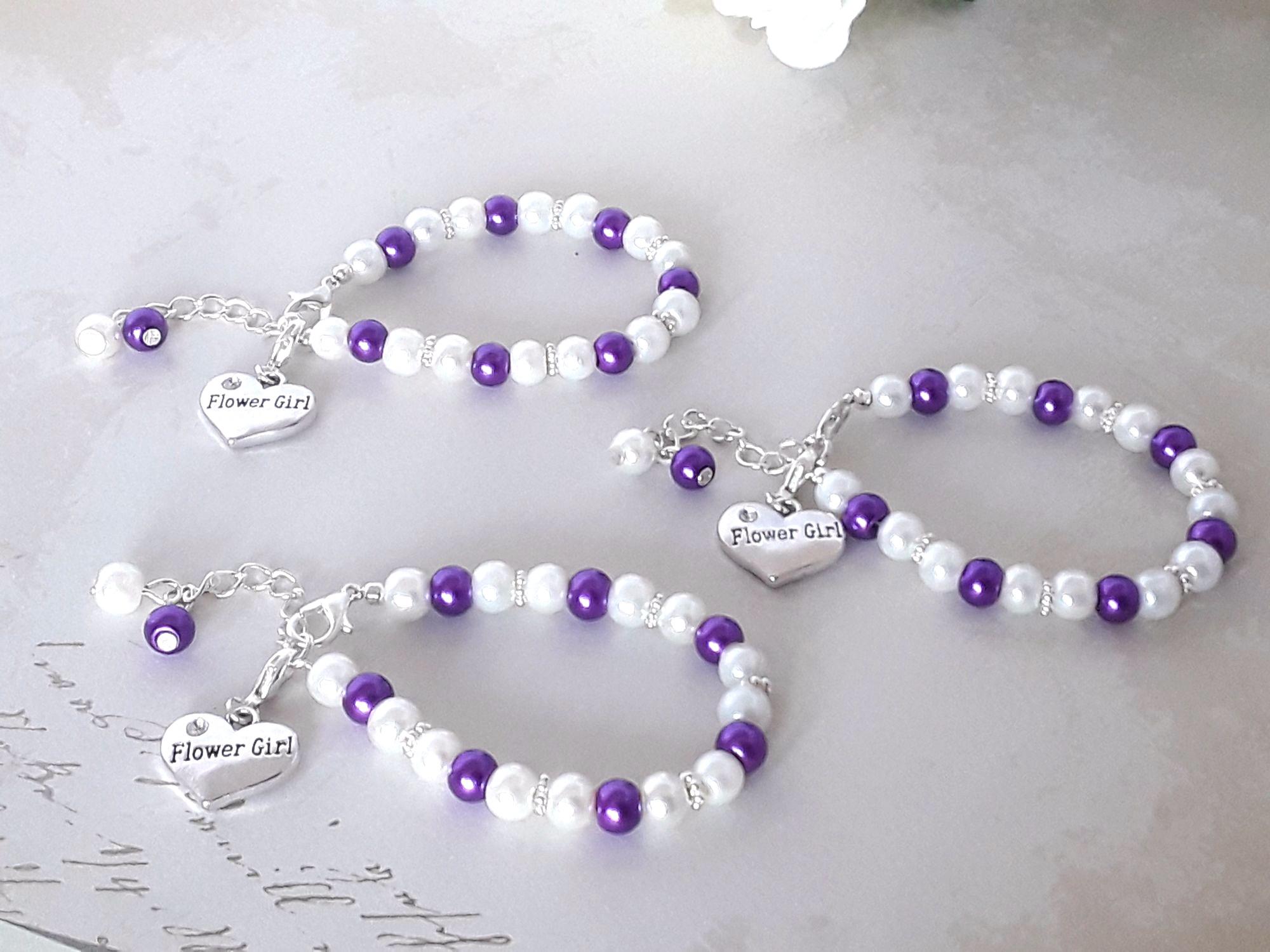 Purple Flower Girl Bracelets