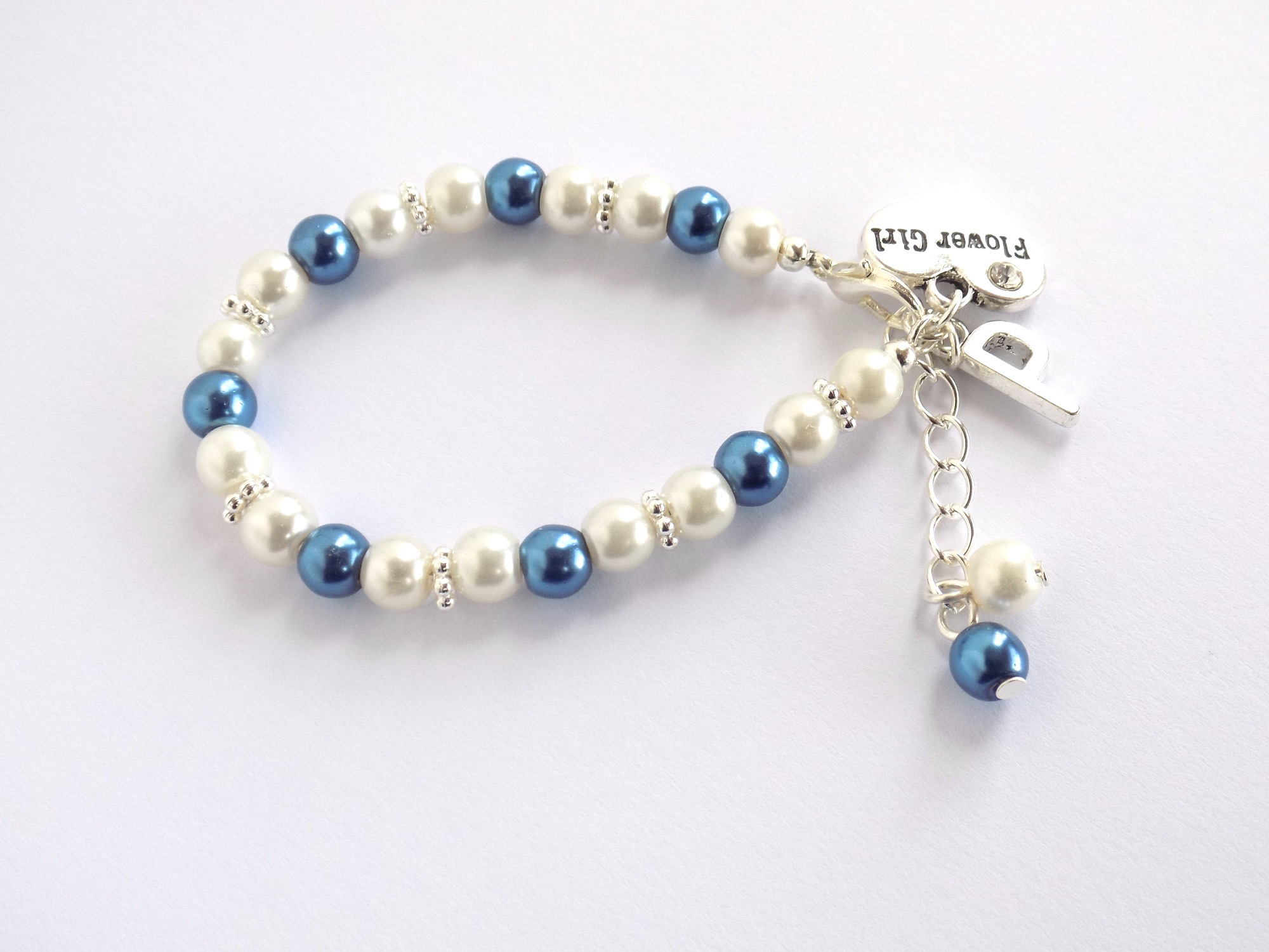 ivory and blue personalised  flower girl bracelet