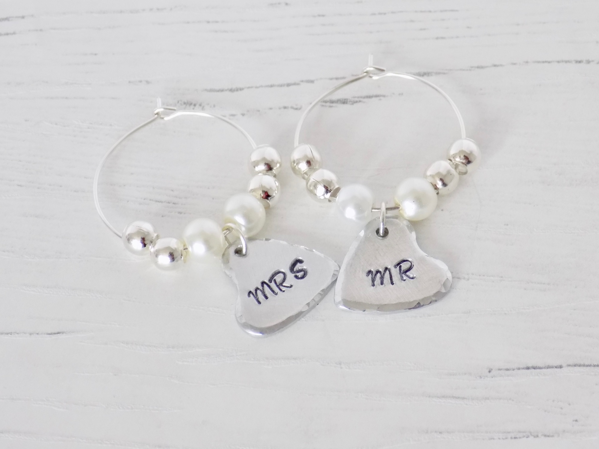 Hand Stamped Mr and Mrs Wine Charms