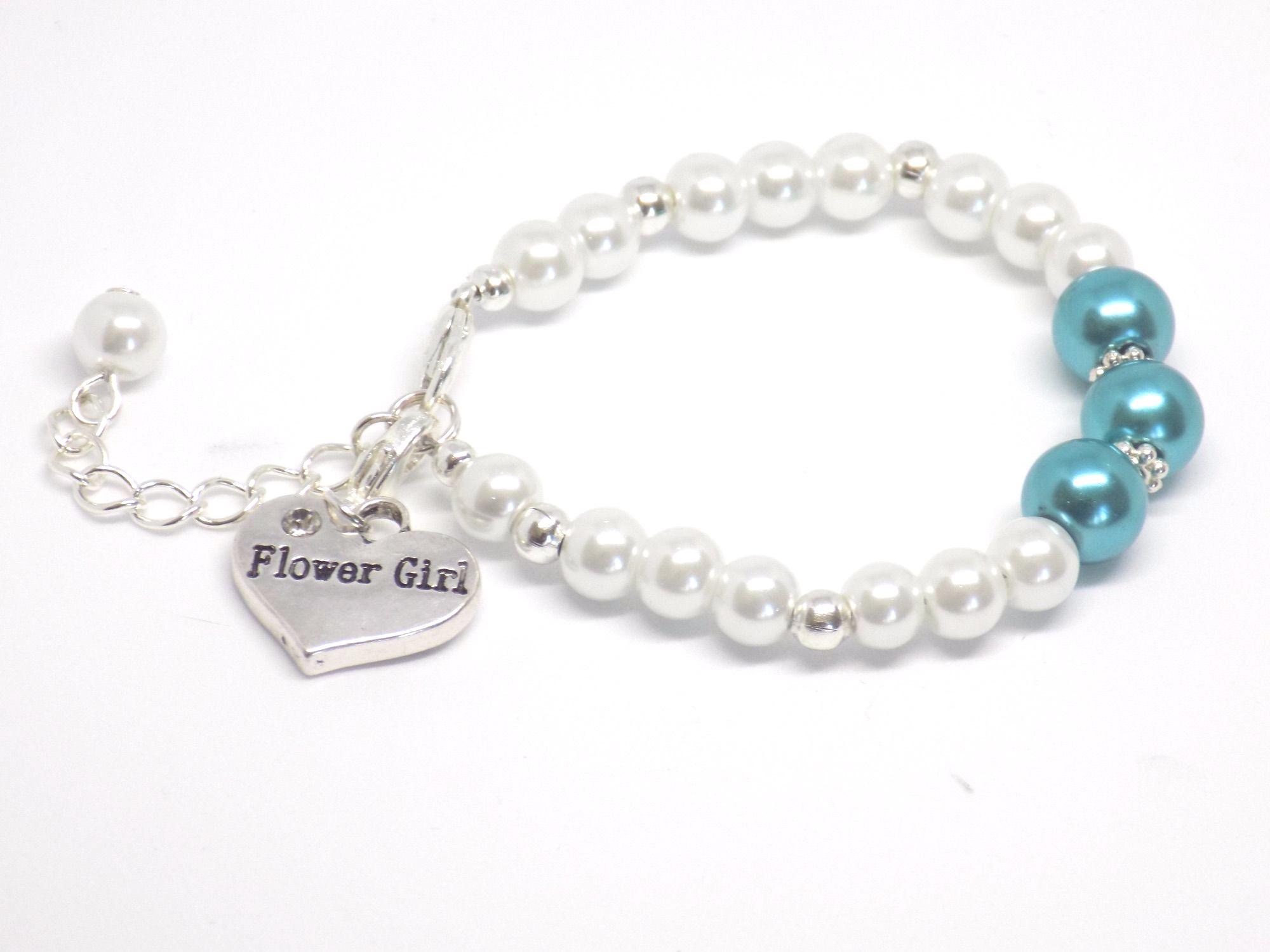 Teal Flower Girl Bracelet