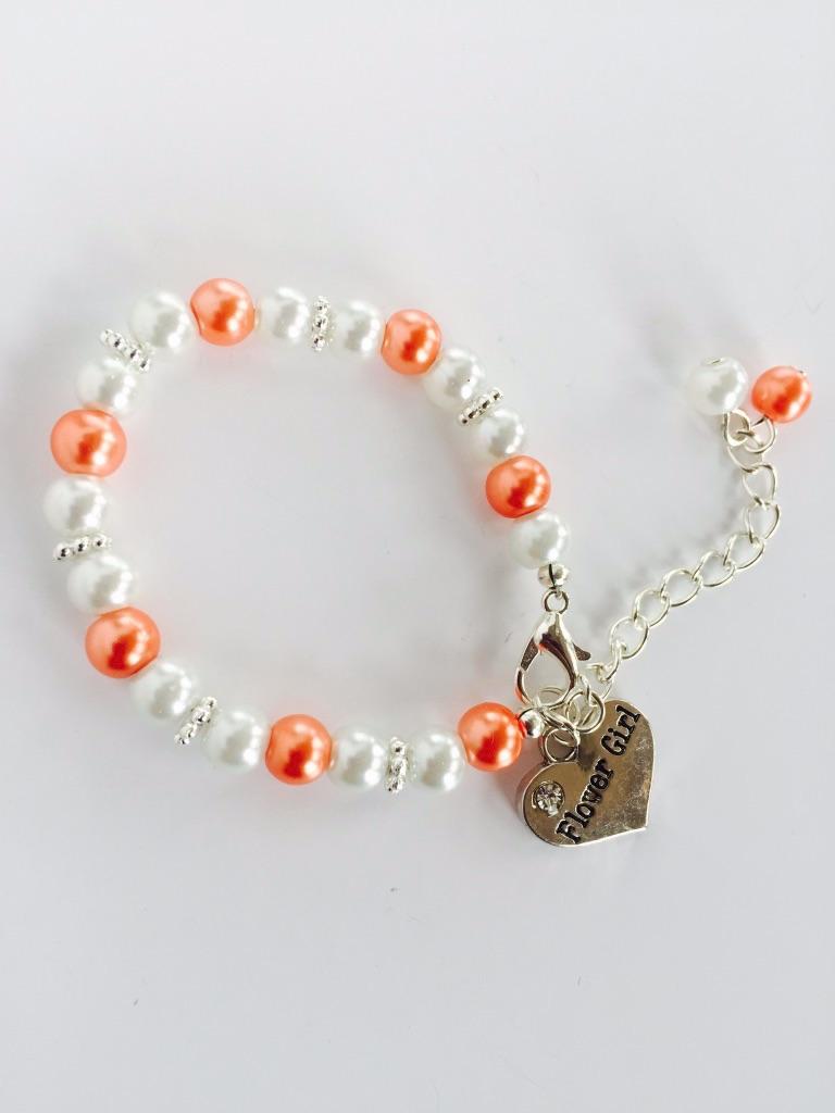 peach flower girl bracelet