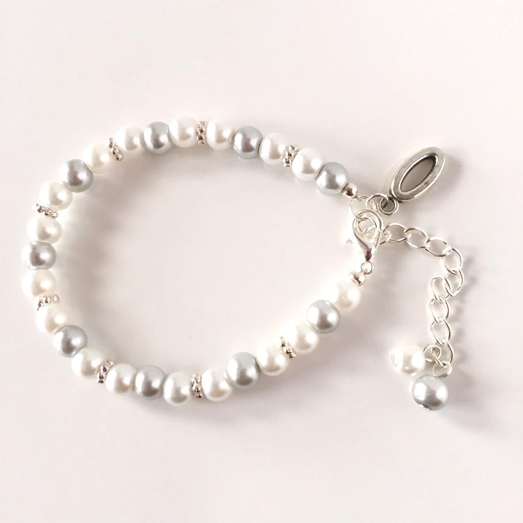 Silver flower girl bracelet