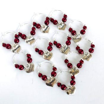 Burgundy Wedding Wine Glass Charm