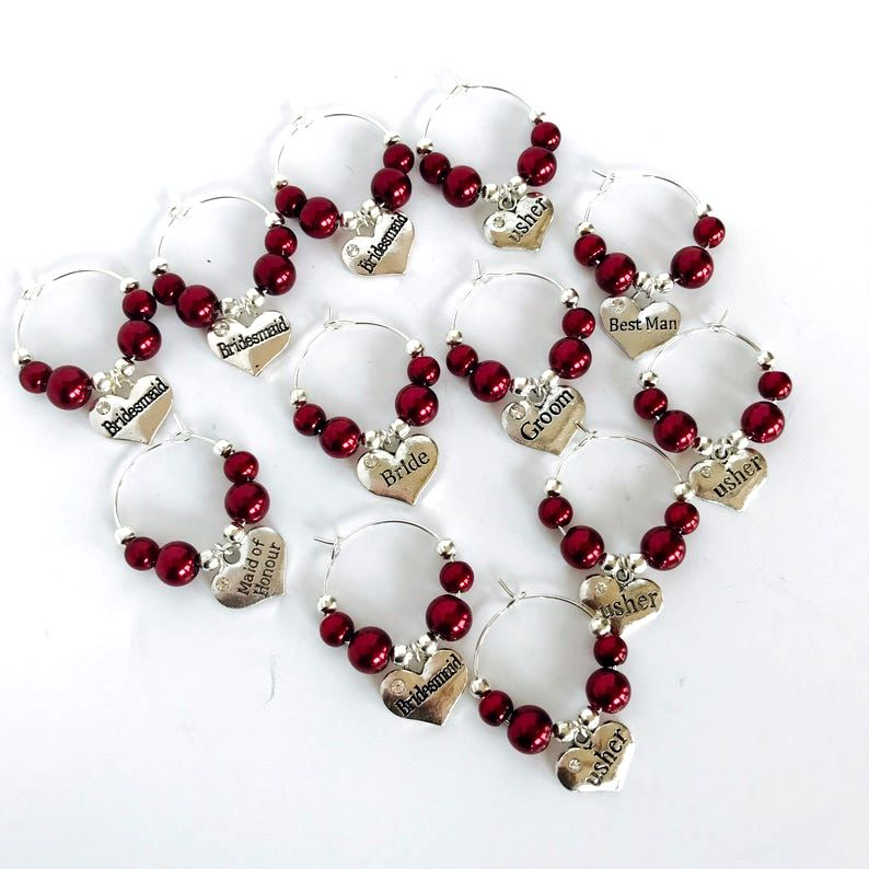 Burgundy Wedding Wine Glass Charm