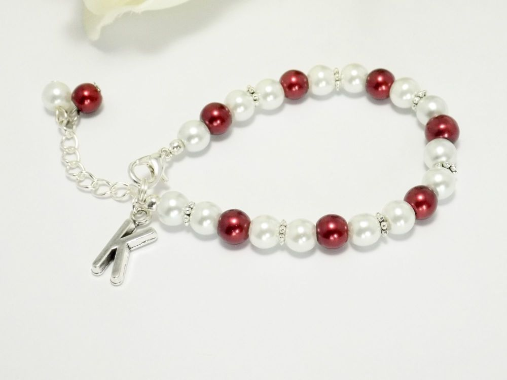 Burgundy Flower Girl Bracelet