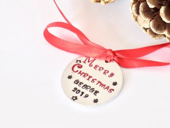 Personalised Hand Stamped Christmas Bauble