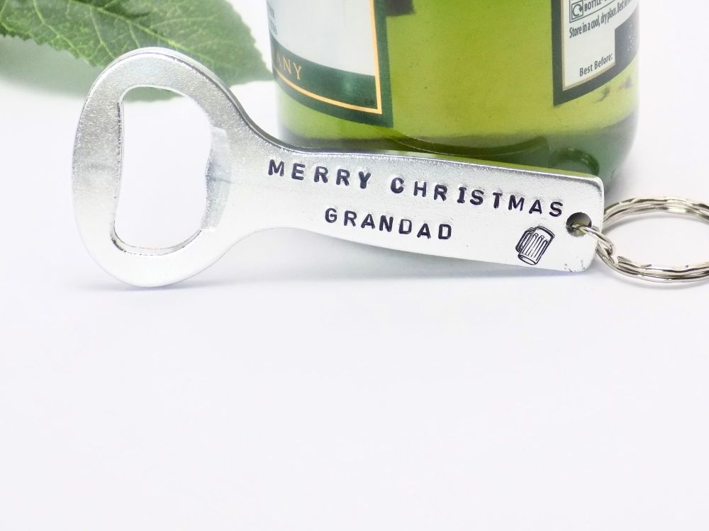 Merry Christmas Personalised Bottle Opener Keyring