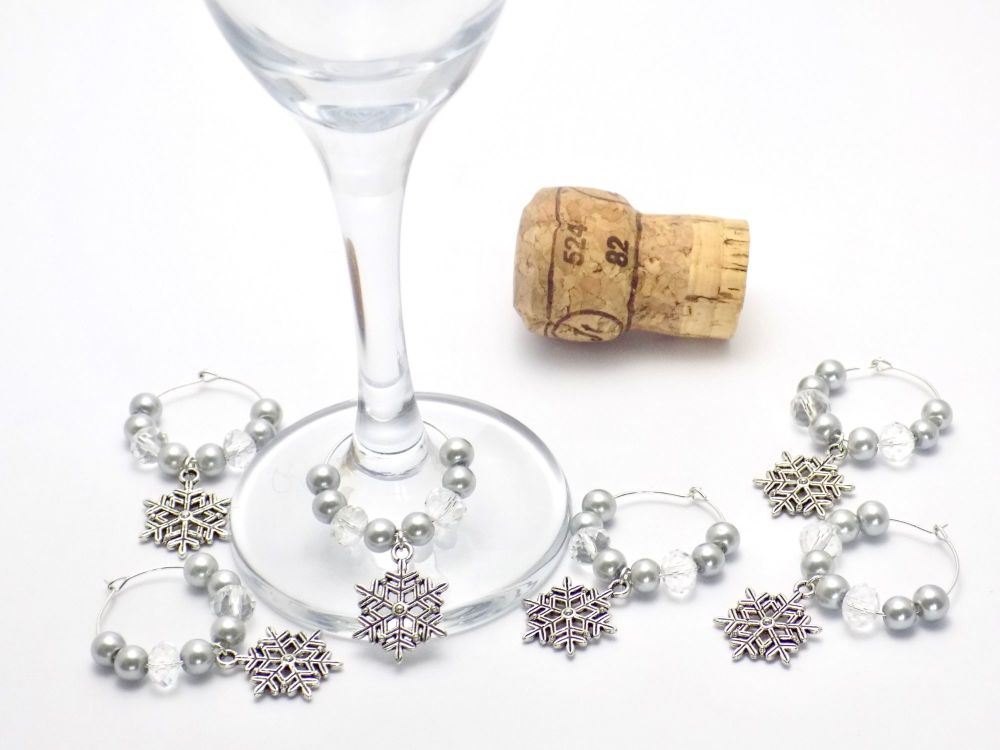 Set of Snowflake Wine Charms