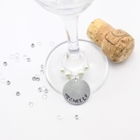 Wine Glass Name Charm