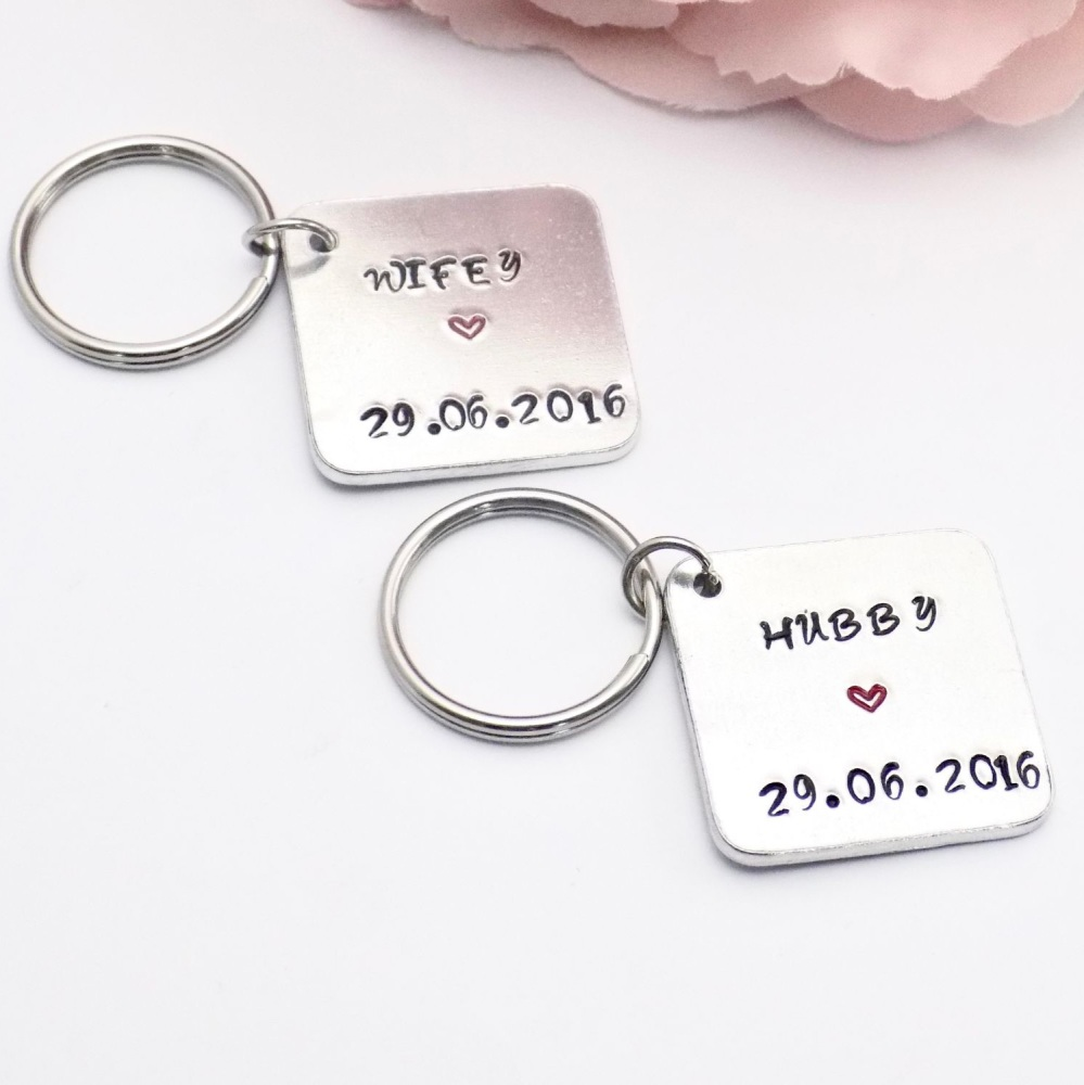 Hubby and Wifey Keyrings.