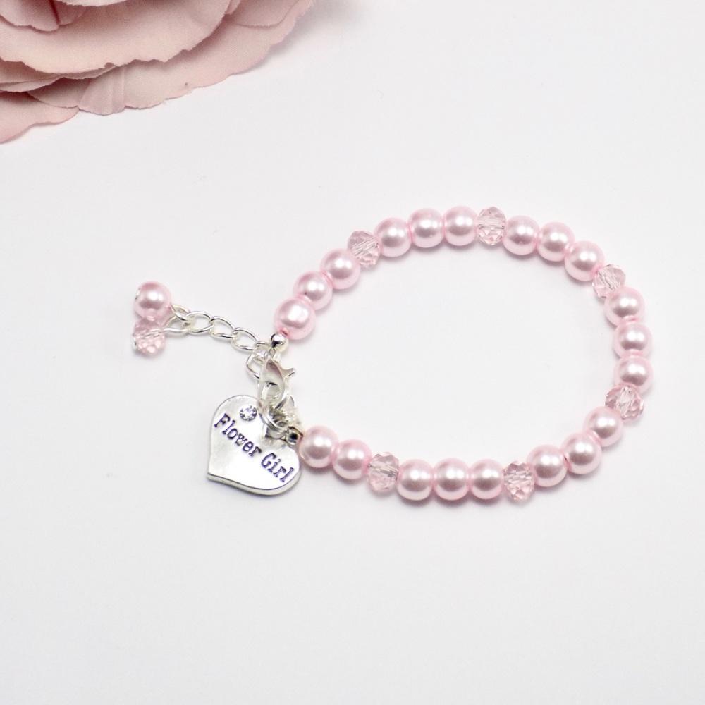 Pink Flower Girl Bracelet