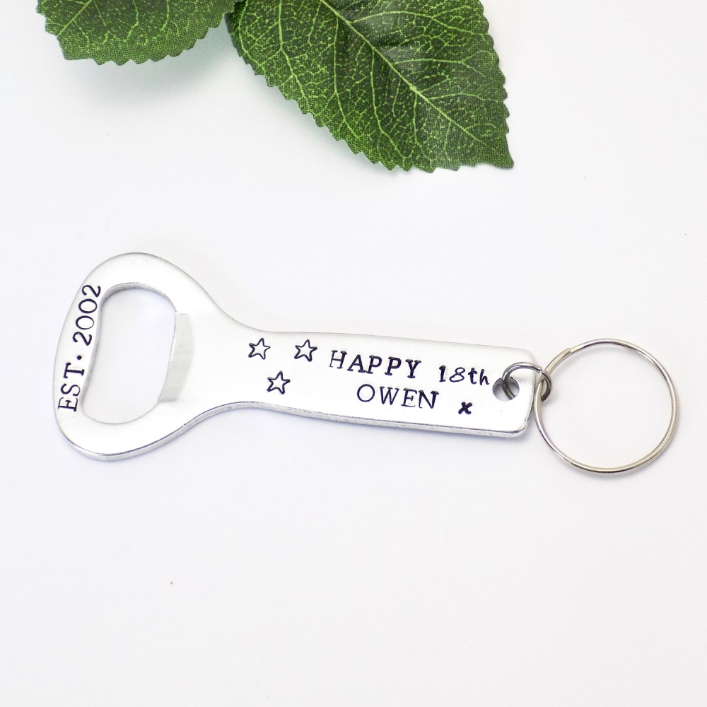 Happy 18th Birthday Bottle Opener Keyring