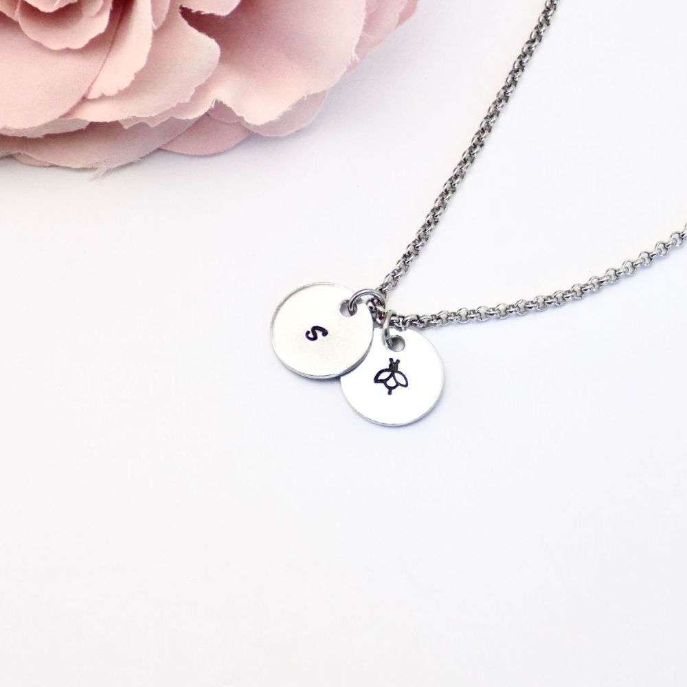 Bee Necklace with Initial