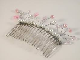 Pink Pearls and Crystal Bridal Comb