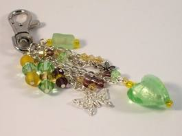 green beaded bag charm