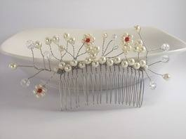red flower bridal comb