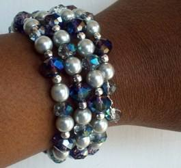 silver crystal memory wire bracelet on wrist