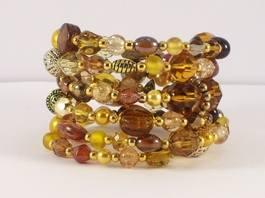 gold beade memory wire bracelet